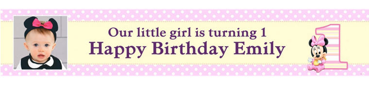 Custom Minnie Mouse 1st Birthday Photo Banner 6ft