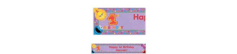 Custom Sesame 1st Birthday Banner 6ft