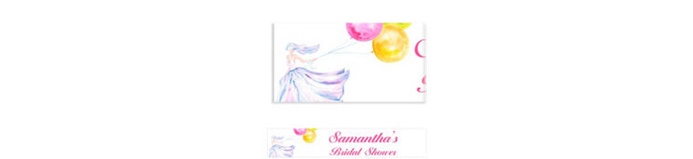 Bride with Balloons Custom Bridal Shower Banner