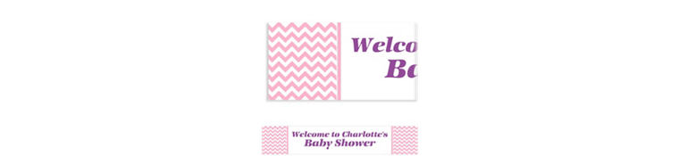 Custom Pink Chevron Banner 6ft