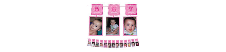 Pink Glitter 1st Birthday Photo Garland