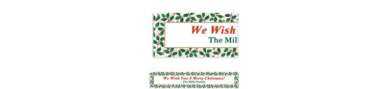 Custom Seasonal Holly Banner 6ft