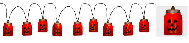 Musical Jack-o'-Lantern Mason Jar String Lights