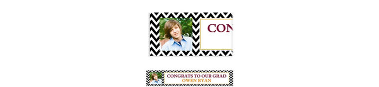 Custom Chevron and Matte Gold Photo Banner