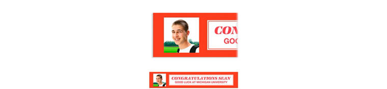 Custom Classic Red Graduation Photo Banner
