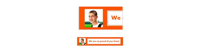 Custom Classic Orange Graduation Photo Banner