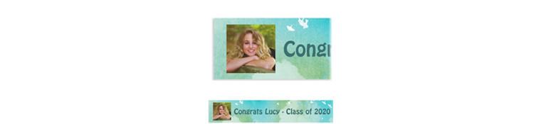 Custom Watercolor Birds Time Flies Graduation Photo Banner