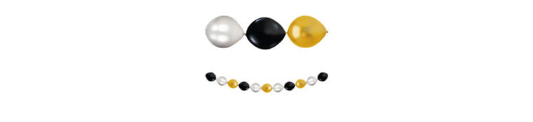 Black, Gold & Silver Balloon Garland