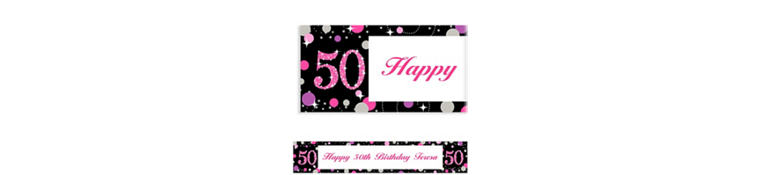 Custom Pink Sparkling Celebration 50 Banner