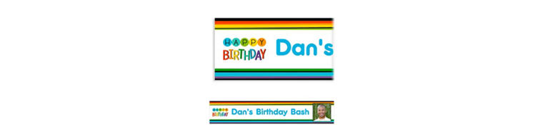Custom Rainbow Happy Birthday Photo Banner
