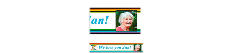 Custom Rainbow 100th Birthday Photo Banner