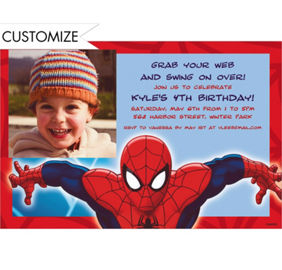 Spiderman birthday invitations gangcraft custom spiderman invitations thank you notes party city birthday invitations stopboris Gallery