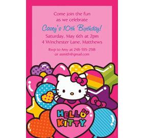 custom invitations banners - Hello Kitty Party Invitations