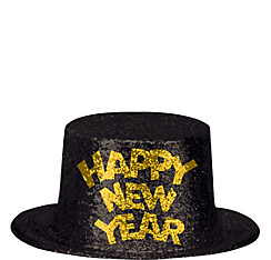 Glitter Black & Gold New Year's Top Hat
