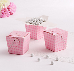 Pink Plaid Take-Out Style Favor Boxes 12ct