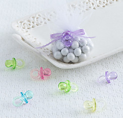 Multicolor Pacifier Baby Shower Favor Charms 24ct