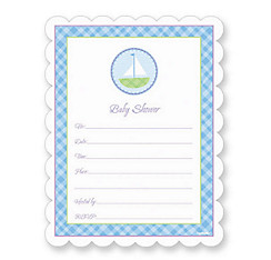 Blue Gingham Baby Shower Invitations 20ct