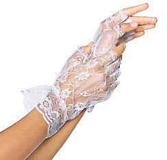 White Lace Fingerless Gloves