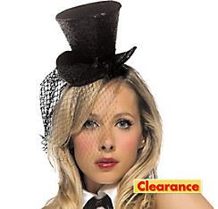 Mini Black Glitter Top Hat with Veil
