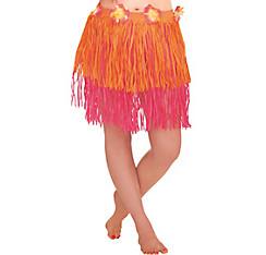 Adult Orange & Pink Mini Hula Skirt