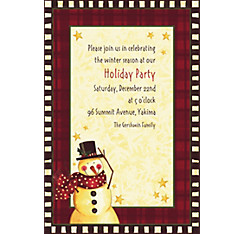Cozy Snowman Custom Christmas Invitation