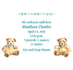 Teddy Bears with Blue Custom Birth Announcements