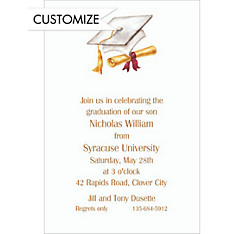 Cap & Diploma White Custom Invitation