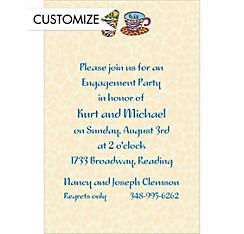 His and His Coffee Mugs Custom Wedding Invitation