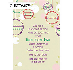 Contemporary Ornaments Custom Christmas Invitation