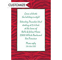 Zebra Holiday Custom Christmas Invitation