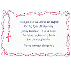 Rosary with Pink Ribbon Custom Invitation