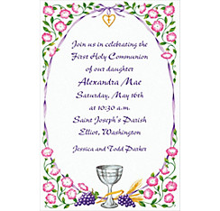 Chalice with Ribbon and Charm Custom Invitation
