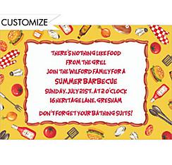 Tossed BBQ Objects Custom Invitation
