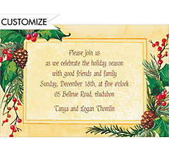 Pretty Holiday Foliage Custom Christmas Invitation