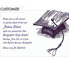 Mortarboard Sketch Custom Graduation Invitation