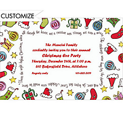 Cute Xmas Objects Custom Christmas Invitation