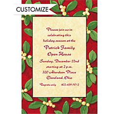 Handsome Mistletoe Custom Christmas Invitation