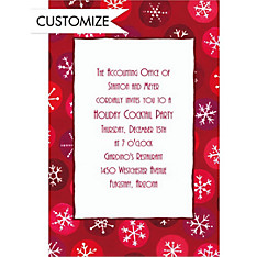 Retro Snowflakes Custom Christmas Invitation