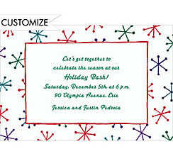 Festive Retro Stars Custom Christmas Invitation