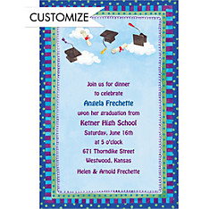 Whimsical Tossed Caps Custom Graduation Invitation