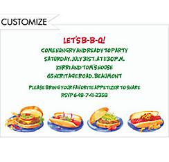 Hamburgers & Hotdogs Custom Invitation
