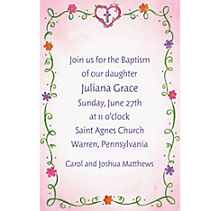 Sweet Flowers, Heart and Cross Custom Invitation