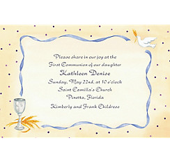 Chalice, Dove & Ribbon Custom Invitation