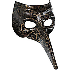 Black & Gold Crackle Long Nose Mask