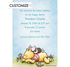 Piglet Napping on Pooh Custom Birth Announcements