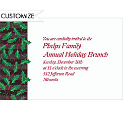 Holly on Black Stripes Custom Christmas Invitation