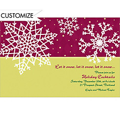 Simple Snowflake Red Custom Christmas Invitation