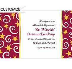 Stars and Swirls Red Custom Christmas Invitation