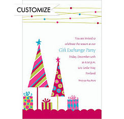 Cute Trees & Gifts Pink Custom Christmas Invitation