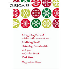 Mod Snowflakes Red Custom Christmas Invitation